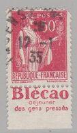 FRANCE : Paix 50c Rouge  Bande Pub BLECAO DEJEUNER DES GENS PRESSES (o) - Advertising