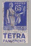 FRANCE : Paix 65c Bleu Bande Pub TETRA PANSEMENTS (o) - Advertising
