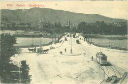 Zürich 1910; Quaibrücke (Strassenbahn) - Gelaufen. (Karten-Centrale, Zürich) - ZH Zurich