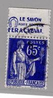 FRANCE : Paix 65c Bleu Bande Pub SAVON FER A CHEVAL (o) - Advertising