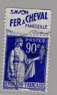 FRANCE : Paix 90c Bleu Bande Pub SAVON FER A CHEVAL MARSEILLE  (o) - Advertising