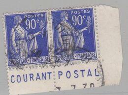 FRANCE : Paix 90c Bleu En Paire Bande Pub COURANT POSTAL (o) - Advertising