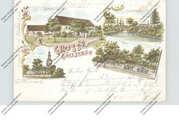 NIEDER-SCHLESIEN - GÖLLSCHAU / GOLISZOW (Liegnitz), Lithographie, Hübner's Gasthaus, Eisenbahnbrücke, Kirche - Schlesien