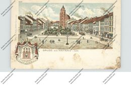 NIEDER-SCHLESIEN - HAYNAU / CHOJNOW, (Liegnitz) Lithographie, Gesamtansicht & Stadtwappen, Eckmangel - Schlesien