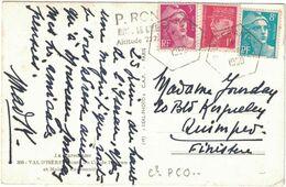 Col De L'Iseran - Cachet Recette Auxiliaire - Affranchissement Tricolore - 1950 - Marcofilia (sobres)