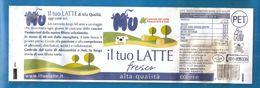 LATTE MU INTERO 1L. CENTRALE DEL LATTE ALESSANDRIA E ASTI  ETICHETTA PLASTICA ITALY - Otros