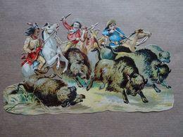 Grand Découpis Cow Boys Et Indiens (Far West): Scènes De Chasse Aux Bisons - Other