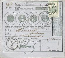 50 Centimes Pellens Obl; Sc ANTOING 29-VI-1914 Sur Bon De Poste (valeur 16 Francs) Expédié De Bruxelles Le 17 Juin + Gri - 1912 Pellens