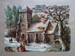 Grand Découpis Eglise En Hiver, Avec Personnages - Other