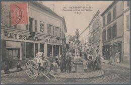 Taverny , Fontaine Et Rue De L'église , Café Restaurant , 2 Billards , Animée - Taverny