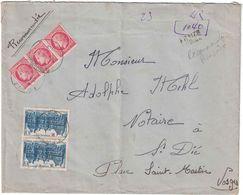 Vosges - Place Saint Martin - Lettre Recommandée Provisoire - 6 Février 1948 - Marcofilia (sobres)