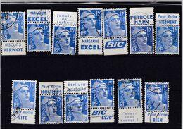 FRANCE :  Gandon 15f Bleu X 13  Pernot-Excel-Bic-Pétrole Hahn- (o) - Advertising