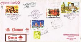 37197. Carta Certificada BARCELONA 1992. Stamp Perfin, Perforado Comercial  A100 JOCS, Olimpiada - 1931-Hoy: 2ª República - ... Juan Carlos I