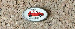Pin's Peugeot 205 Publicitaire Thiers 1991 Et Futuroscope - Fabricant BN - Peugeot