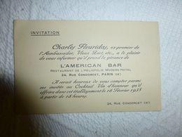 American Bar, Charles FLEURIDAS, Carte Invitation 1935 Ref 1930 ; VP 11 - Visitenkarten