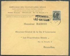 70 Centimes Léopold III I Obl. ScT OURNAI Sur Lettre De PERONNES-LEZ-ANTOING (griffe D'origine) De 1936 Vers Bruxelles. - Postmark Collection
