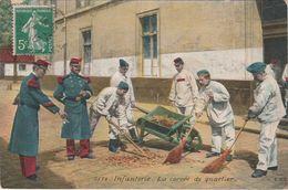 Groupe De Militaires Carte N°3578 Infanterie La Corvée De Quartier En 1912 Balais Brouette - Régiments