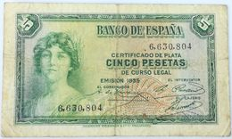 Billete 1935. 5 Pesetas. República Española. Pre Guerra Civil. Sin Serie. SS. BC - [ 2] 1931-1936 : Repubblica