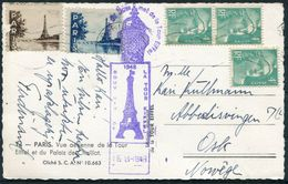 1948 France Eiffel Tower Postcard, Souvenir Cachet + Vignettes - Oslo Norway - France