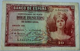 Billete 1935. 10 Pesetas. República Española. Pre Guerra Civil. Sin Serie. SS. MBC - [ 2] 1931-1936 : Republic