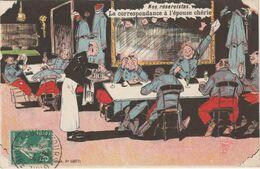 Carte Halte Là Paris Groupe De Militaires à Table Avec Garçon De Café Nos Réservistes Correspondance à L'épouse Chérie - Régiments