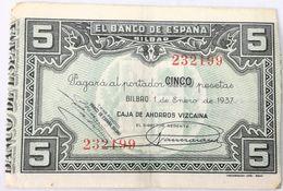 Billete 1937. 5 Pesetas. Bilbao. República Española. Guerra Civil. SS. Sin Serie. MBC. Caja De Ahorros Vizcaina. Banco - [ 2] 1931-1936 : Republiek