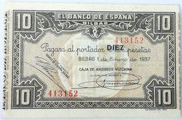 Billete 1937. 10 Pesetas. Bilbao. República Española. Guerra Civil. SS. Sin Serie. EBC. Caja De Ahorros Vizcaina. Banco - [ 2] 1931-1936 : Repubblica