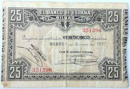 Billete 1937. 25 Pesetas. Bilbao. República Española. Guerra Civil. SS. Sin Serie. MBC. Caja De Ahorros Vizcaina. Banco - [ 2] 1931-1936 : Republic