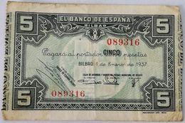 Billete 1937. 5 Pesetas. Bilbao. República Española. Guerra Civil. SS. Sin Serie. MBC. Caja De Ahorros Y Monte De Piedad - [ 2] 1931-1936 : Republiek