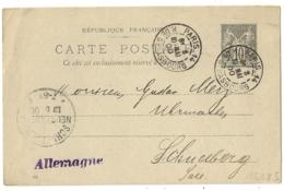 Bloc Dateur Horaire, PARIS-14 R. DE STRASBOURG Pour SCHNEEBERG Allemagne Sur ENTIER SAGE. - Storia Postale