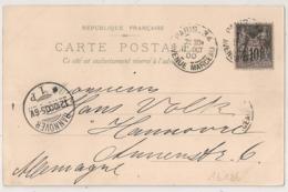 Bloc Dateur Horaire, PARIS-34 AVENUE MARCEAU  Pour HANNOVRE Allemagne Sur CP SAGE. - Storia Postale
