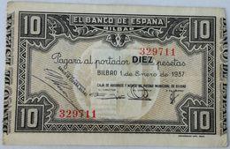 Billete 1937. 10 Pesetas. Bilbao. República Española. Guerra Civil. SS. Sin Serie. MBC. Caja De Ahorros Monte De Piedad - [ 2] 1931-1936 : Republic