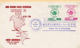 SOBRE 1r.DIA CENTENARIO UPU, 1974, COSTA RICA. MICHEL 873-874 - Costa Rica