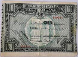 Billete 1937. 100 Pesetas. Bilbao. República Española. Guerra Civil. SS. Sin Serie. MBC. Caja De Ahorros Y Monte De Pied - [ 2] 1931-1936 : Republic