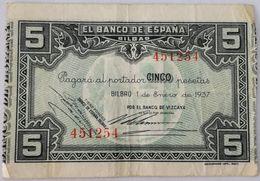 Billete 1937. 5 Pesetas. Bilbao. República Española. Guerra Civil. SS. Sin Serie. MBC. Banco De Vizcaya. Banco De España - [ 2] 1931-1936 : Repubblica