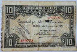 Billete 1937. 10 Pesetas. Bilbao. República Española. Guerra Civil. SS. Sin Serie. MBC. Banco De Vizcaya Banco De España - 10 Pesetas
