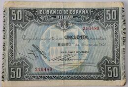 Billete 1937. 50 Pesetas. Bilbao. República Española. Guerra Civil. SS. Sin Serie. MBC. Banco De Vizcaya Banco De España - [ 2] 1931-1936 : Repubblica