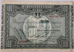 Billete 1937. 100 Pesetas. Bilbao. República Española. Guerra Civil. SS. Sin Serie. MBC. Banco De Vizcaya. Banco De Espa - [ 2] 1931-1936 : Repubblica