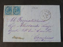 """3715 ITALIA Regno-1877- """"Effigie"""" C. 10 Coppia FERRARA>CRESPINO (descrizione) - Marcophilie"""