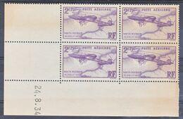 France PA   7 Blériot Bloc De 4 Coin Daté 24 8 1934 Papier Jauni Par Endroit Pas De Rouille Neuf ** TB MnH Sin Charnela - Poste Aérienne