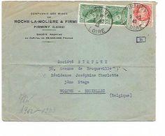 """LE 0902. N° 414B(2)-521 FIRMINY (LOIRE) 2.2.42 S/Lettre Vers Woluwé (BRUXELLES). Censure """"e"""" Au Dos. - Guerra Del 1939-45"""