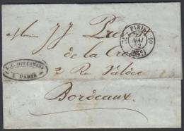 """France 1852 - Précurseur De Paris à Destination Bordeaux.  La Poste à Paris"""" ...   (VG) DC-7837 - France"""