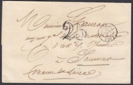 """France 1850 - Précurseur De Paris à Destination Saumur.  La Poste à Paris"""" ...   (VG) DC-7838 - France"""