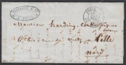 """France 1852 - Précurseur De Paris à Destination Lille.  La Poste à Paris"""" ...   (VG) DC-7839 - France"""