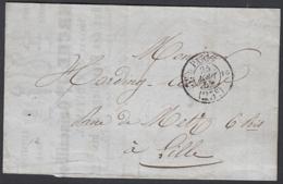 """France 1852 - Précurseur De Paris à Destination Lille.  La Poste à Paris"""" ...   (VG) DC-7842 - France"""