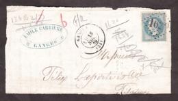18 Avril 1870 - T17 Ganges Pour ? - GC 1620 Sur N° 29B - Marcofilia (sobres)