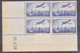 France PA  12 Paris Bloc De 4 Coin Daté 20 9 1935 Légèrement Jauni En Marge Pas De Rouille Neuf ** TB Aspect Cote 225 - Poste Aérienne