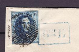 N° 4 Margé / Lettre Du   BUREAU E   De Bruxelles Vers LIEGE  Du 29 Janvier 1851 Lsc - 1849-1850 Medallions (3/5)