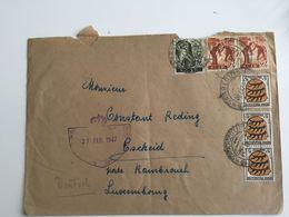 Luxembourg Lettre 1947 Avec Censure Saarlouis - Lettres & Documents