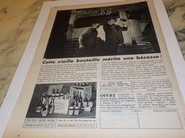 ANCIENNE PUBLICITE UNE BECASSE MERITE GRAND VIN HENRI MAIRE 1957 - Alcohols